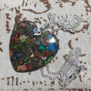 Jasper heart pendant silver 925 chain